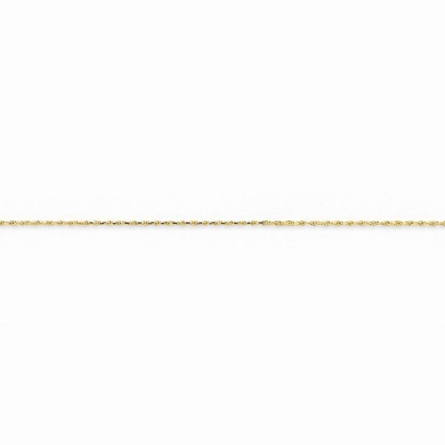 Solid 14k Yellow Gold 1mm Machine Made Rope Chain Necklace - with Secure Lobster Lock Clasp 22
