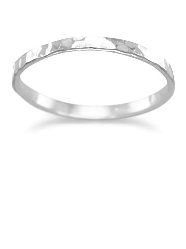 Hammered Sterling Silver Band Ring Polished 1.7mm Wide Stackable, Size 6