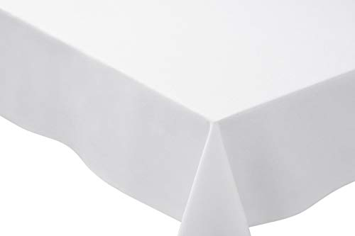 Tablecloth Basic (Bright Settings 70 x 144 Inch Rectangle Tablecloth, Flame Retardant Basic Polyester, White)