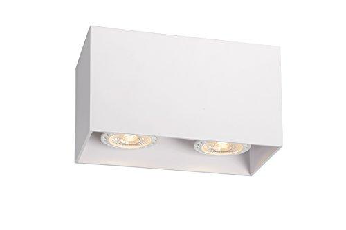 Lucide 09101/02/31 Bodi - Lámpara de techo rectangular (2 bombillas GU10), color blanco