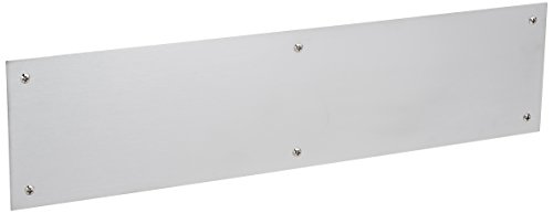 Baldwin 2124 4 Inch x 16 Inch Solid Brass Square Edge Push Plate, Satin (Satin Chrome Pull Plate)