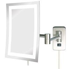 Wall Mounted Mirrors Jerdon Jrt710nl 6.5'' X 9'' LED Lighted Wall Mount Rectangular Makeup Mirror, Nickel Finish