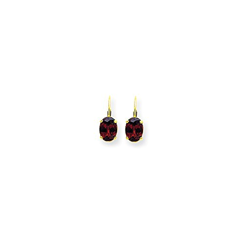 14k Yellow Gold 8x6mm Oval Red Garnet Leverback Earrings Lever Back Drop Dangle Gemstone Prong Fine Jewelry Gifts For Women For ()