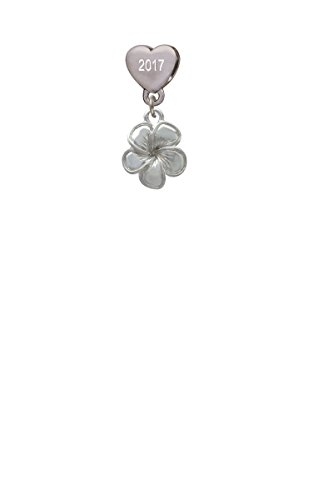 Flower Custom Year Stainless Steel Heart Bead Charm