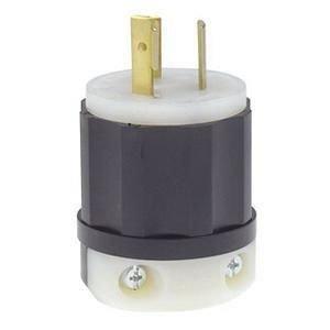 Leviton 2331 20 Amp, 277 Volt, NEMA L7-20P, 2P, 3W, Locking Plug, Industrial Grade, Grounding - Black-White -