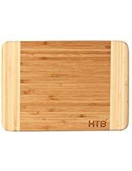 HTB 100% Bamboo Tabla de cortar, tabla de cortar tabla de bambú para servir alimentos Prep, hacer cócteles o aperitivos,...