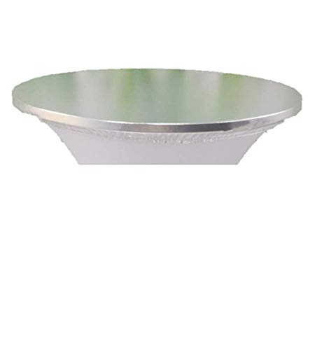 Silver Spandex Topper Cap (32'') for Round Cocktail Table, Adding Precious Metallic Glitter and Luxurious Accents To Tables, Protecting From Messy Spill, For Weddings Parties Banquet, Restaurants