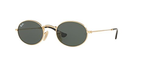 Ray-Ban RB3547N OVAL 001 51M Gold/Green Sunglasses For Men For Women (For Oval Sunglasses Men)