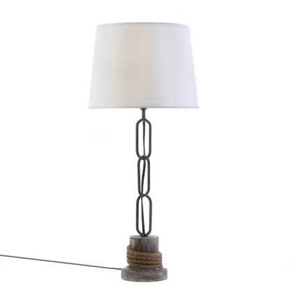 Nautical Anchor Link Chain Rope Trim Table Lamp White - Metal Rope Trim