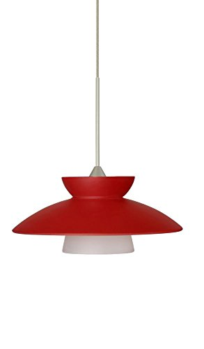 (Besa Lighting 1XT-271831-LED-SN 1X6W Led Lightsource Trilo 7 Pendant with Red Matte Glass, Satin Nickel Finish)
