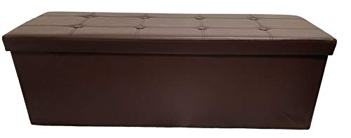 Mk Home Folding Dark Brown Leather Ottoman Pouffe, Foot Rest, Coffee Table, 3 Seat Bench with Padded Seat and Storage Compartment New