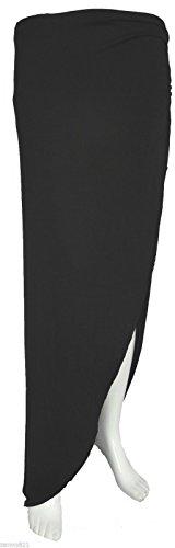 Para mujer acanalado lateral split Plain Long Maxi falda tamaño vestido 8