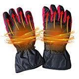 Aolvo 4.5V Heated Gloves for Women Men Electric Warming Gloves Battery Operated Heated Motorcycle Winter Gloves Waterproof Insulated for Hiking Skiing Cycling&Hunting (Black, No Battery Included)