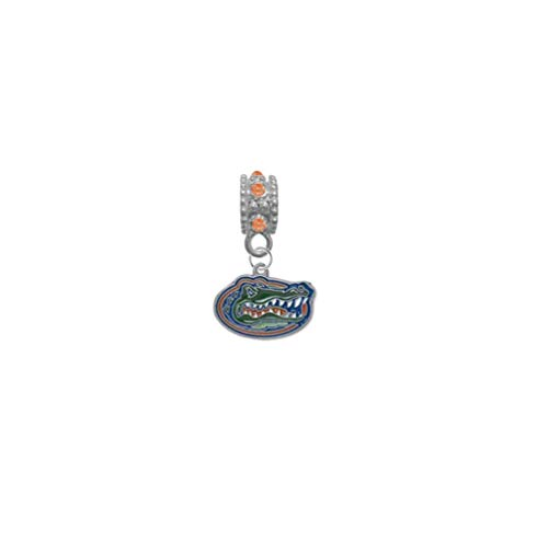 Florida Gators Orange Rhinestone/Gem Charm with Connector - Universal European Slide On Charm - Classic & Original Style Perfect for Bracelets, Necklaces, DIY Jewelry