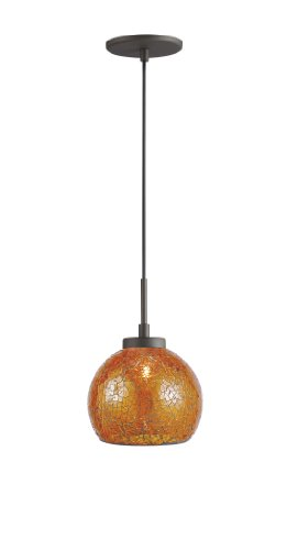 Woodbridge Lighting 13323MEB-M00AMB 1-Light Mini Pendant, 7-Inch by 84-Inch Maximum, Metallic Bronze
