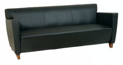 Sofa, Black Leather, Cherry Finish