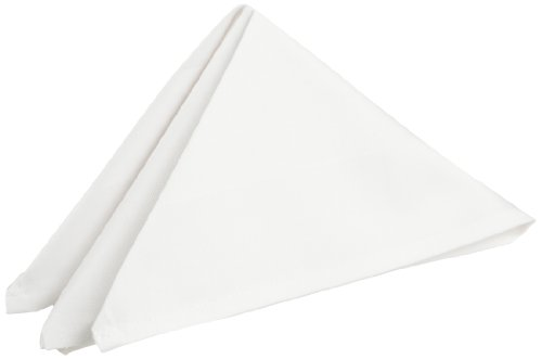 auti-Damask Cottonblend 20-Inch by 20-Inch Napkins, White, 8-Pack (White Satin Band)