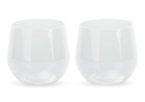 SILIPINT Silicone Wine Glasses, U.S. Patented, BPA-Free, Unbreakable, Red and White Wine Drinkware (2 Frosted White 14oz Cups)
