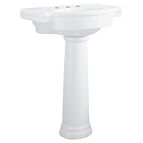 American Standard 0282.800.020 Retrospect Pedestal Bathroom Sink with 8-Inch Faucet Spacing, White - Fireclay Lavatory Console