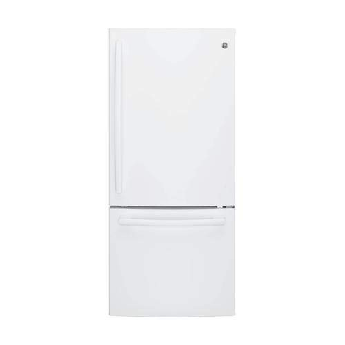 Ge White Bottom Freezer Refrigerator - GE GBE21DGKWW Bottom Freezer Refrigerator