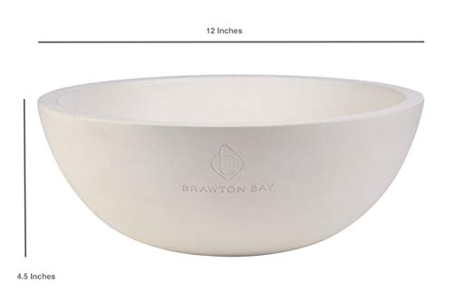 """Decorative Fruit Bowl for Kitchen or Dining Room, Concrete, White - Extra Large Food Bowls for Snacks, Candy - Handmade Kitchen Accessories for Tables and Countertops, 12"""" Diameter by Brawton Bay (Image #6)"""