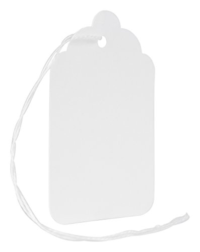 MACO White Strung Merchandise Tags, 8-1-11/16 x 2-3/4 Inches, 1000 Per Box (12-201)