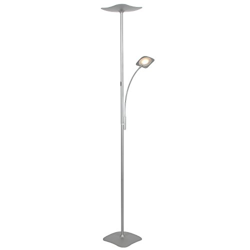Brightech SKY Plus- LED Torchiere Floor Lamp – 33 W Energy Saving, Dimmable, Adjustable, Reading Lamp– Modern Tall Standing Pole Uplight for Light Living Room, Dorm, Bedroom or Office –Platinum Silver