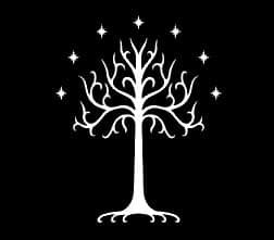 [Tree Of Gondor LOTR Decal Vinyl Sticker|Cars Trucks Vans Walls Laptop| White |5.5 x 4.5 in|LLI171] (Galadriel Costume Design)