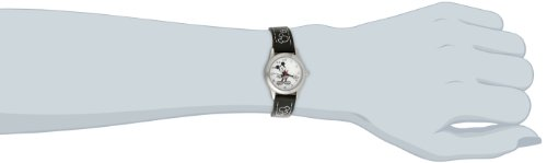 Disney Women's MK1006 Mickey Mouse White Dial Black Strap Watch