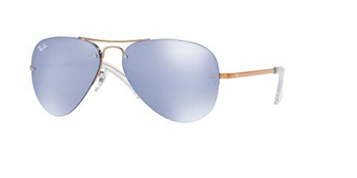 Ray-Ban RB3449 90351U 59M Copper/Dark Violet Silver Mirror Sunglasses For Men For Women ()
