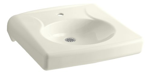 (KOHLER K-1997-1N-96 Brenham Wall-Mount Bathroom Sink with Single-Hole Faucet Drilling, Less Soap Dispenser Hole and Overflow, Biscuit)
