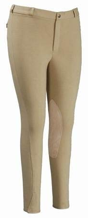 TuffRider Men's Cotton Knee Patch Breeches (Regular), Light Tan, 32
