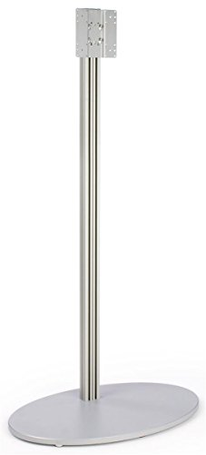 Monitor Floor Stand for a 32 to 60 inch Television, Oval MDF Base - Silver (Solid Stand Base Aluminum)