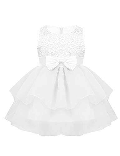 - iiniim Baby Girl Sparkling Rose Flower Ruffle Layers Baptism Dress Wedding Pageant Party Christening Gown Embroidered White 12-18 Months