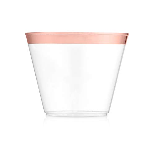 100 Rose Gold Plastic Cups ~ Disposable Plastic Party Supplies Tumbler Glasses ~ Perfect for Weddings ~ 9oz Decorative Clear Rose Gold Tumblers for Party or any Event ~ Elegant Rim, Stylish Cup