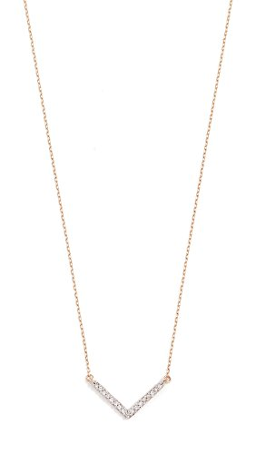 Adina Reyter : Jewelry Necklaces - Adina Reyter Women's 14k Gold Tiny Pave V Necklace, Gold, One Size