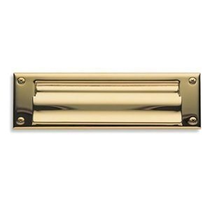Baldwin 0017.150 Satin Nickel Letter Box Magazine Sized Spring Tension Brass Letter Box Plate with Hinged Interior Cover 0017 - Magazine Mail Slot