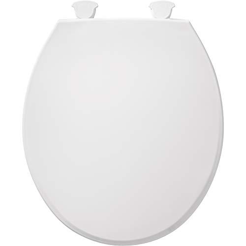 Bemis 800EC 000 Plastic Round Toilet Seat with Easy Clean & Change Hinge, White
