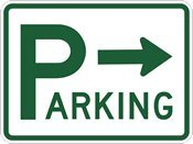 Big P Parking Lot Signs With Right Arrow   24X18