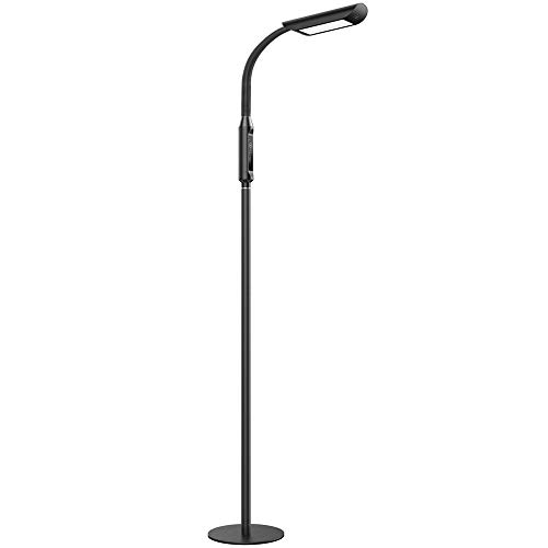TaoTronics LED Floor Light 1815 Lumens & 50,000 Hours Lifespan, Dimmable Standing Lamp Two in One Flexible Gooseneck Touch Control Panel for Living Room, UL Adapter, Lamp Desk Lamp, 12W