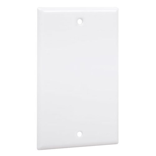 TayMac WW-B Standard Metallic Wallplate with Blank, Single Gang, White Smooth