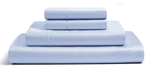 CHATEAU HOME COLLECTION Luxury 800-Thread-Count 100% Egyptian Cotton Bed Sheets, 4 Pc Full - Ballad Blue Sheet Set, Single Ply Long-Staple Yarns, Sateen Weave, Fits Mattress Upto 18'' Deep ()
