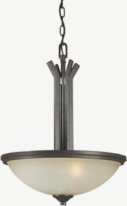 03 Forte Ceiling Lighting - Forte 2254-03-32 Three Light Bowl Pendant, Antique Bronze Finish Umber Mist Glass