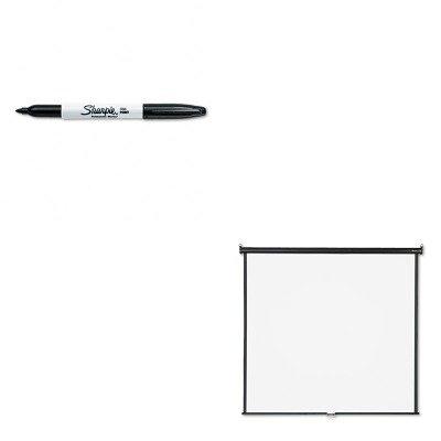 KITQRT670SSAN30001 - Value Kit - Quartet Wall or Ceiling Projection Screen (QRT670S) and Sharpie Permanent Marker (SAN30001)
