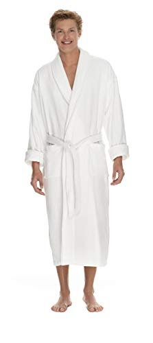 - Boca Terry Mens Robe - 100% Cotton Shawl Collar Velour Bathrobe for Men - XXL White