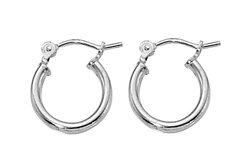 Sterling Silver 2mm x 12mm Click Down Tiny Hoop Earrings - 1 pair