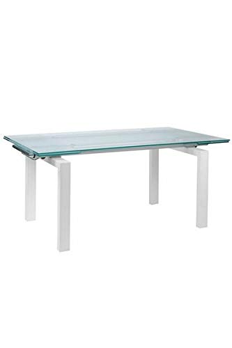 White & Frosted Glass Desk or Conference Table with Extending Top
