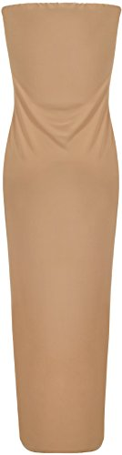WearAll Women's Bleeveless Stretch Bodycon Boob Tube Party Mini Dress - Camel - US 10 (UK 14)