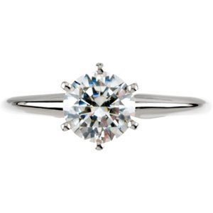Moissanite Tiffany Solitaire - Exquisite! Women's 14k White-gold 1 ct Round Brilliant Moissanite Solitaire Engagement Ring - 6.5mm Size 5.5