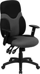 Flash Furniture High Back Ergonomic Black and Gray Mesh Swivel Task Chair with Adjustable Arms